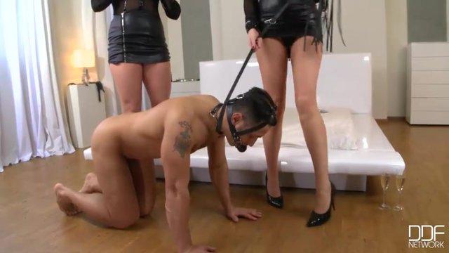 Две девушки брюнетки и раб