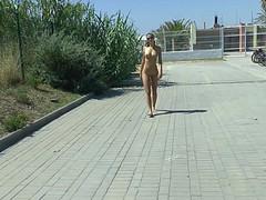 Молодая шкура прогуливается голая по городу