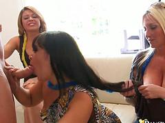 Голодные девки сосут у стриптизера